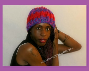 Originale bonnet Crochet unisex !! PURPLE RED !! En laine Taille unique handmade belicious-delicious-creation