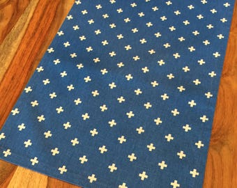 Bold Blue Fabric Table Runner with white cross