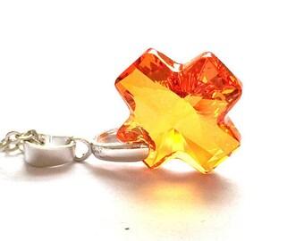 Swarovski Cross Necklace, Astral Pink Swarovski Necklace, Orange Cross Necklace, Swarovski Jewelry