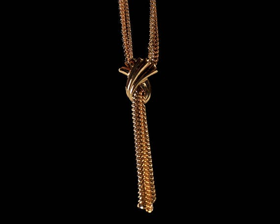 Avon Necklace, Two Tone, Silver and Gold, Lariat Style