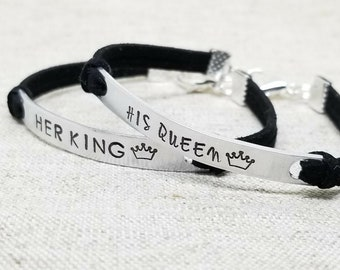 His QUEEN Her KING Matching Couples Bracelet | Anniversary Bracelet | Personalized His and Hers Jewelry | Boyfriend Girlfriend Jewelry