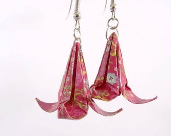 Pink flower Lily Origami with multicolored flowers earrings