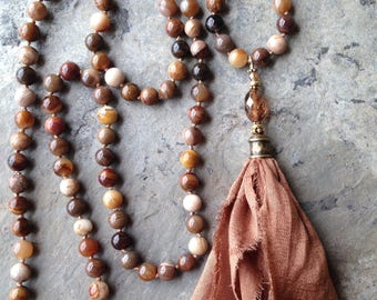 Brown Opalite Beads with Sari Silk Tassel Long Necklace