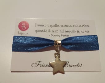 Blue Friendship Bracelet with Silver Coloured Star