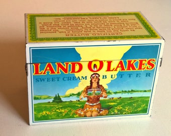Vintage Land O Lakes Recipe Tin Box with Recipes Land O Lakes Butter Metal Box Recipe Storage Container Cooking Kitchen