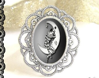 Adjustable ring with cabochon 13 x 18 mm * Moon * (151216)