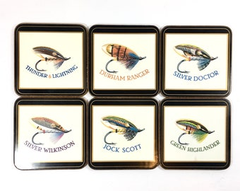 Fishing Lure Coaster Set of Six Vintage Coasters Sport Fisherman Gift For Him