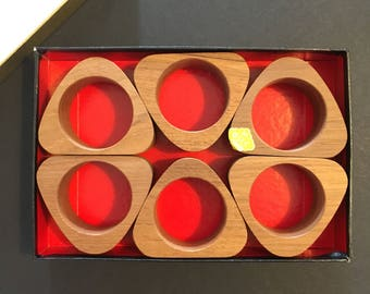 Teak Mid Century Napkin Rings Set of Six NOS Original Box MCM Modern Wood Napkin Ring Vintage Kitchen Table