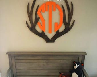 """30"""" Two Color Rustic Woodland Theme Wooden Antler Monogram, Rustic Monogram, Hunter Decor - You Pick The Stain Color or Paint Color"""