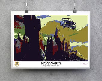Hogwarts Travel Poster - Harry Potter Print - It's Quicker by Flying Car - 1930s Style, Retro Vintage