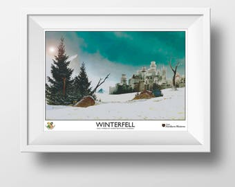 Game of Thrones Travel Poster - Winterfell - 1930s Style, Retro Vintage - Game of Thrones Art - Gift