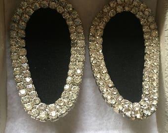 Vintage Art Deco Rhinestone/grosgrain  Shoe Clips