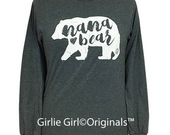 Girlie Girl Originals Nana Bear Dark Heather Grey Long Sleeve T-Shirt