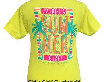 Girlie Girl Originals Summer Girl Neon Yellow Short Sleeve T-Shirt