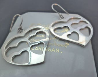 """A superb pair of silver heart earrings - 925 - sterling silver - Marked 925 - 2"""" x 1.4"""""""