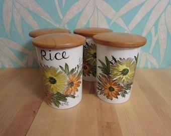 Set of 4 1970s Crown Devon Fieldings ceramic kitchen caddies/jars