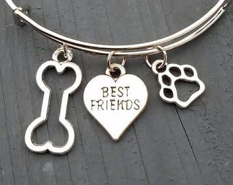 Dog charm bracelet, pet charm bracelet, paw charm bracelet, best friend bracelet, dog bone charm bracelet, pet jewelry, dog lovers jewelry