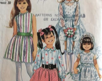 Simplicity 8171 girls dress size 12 breast 30 vintage 1960's sewing pattern