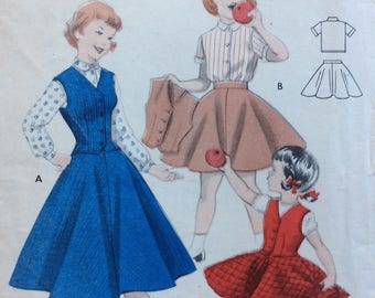 Butterick 7414 girls blouse, weskit & skirt size 8 vintage 1950's sewing pattern