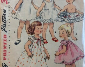 Simplicity 1563 toddlers girls nightgown, slip, petticoat & panties size 1 vintage 1950's sewing pattern