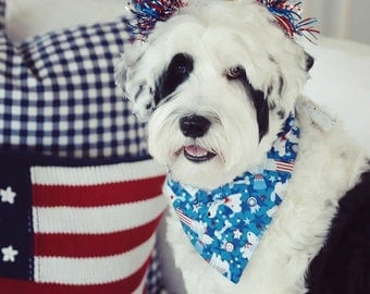 Patriotic Dogs Dog Bandana || Reversible Stars Personalized Classic Tie Pet Scarf || Patriotic Puppy Gift by Three Spoiled Dogs