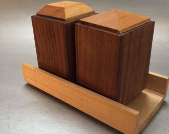 Vintage Danish Styled Teak Wood Salt and Pepper Shakers with Rack