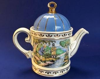 Sporting Scenes, Fishing Special Sadler Vintage Porcelain Teapot England