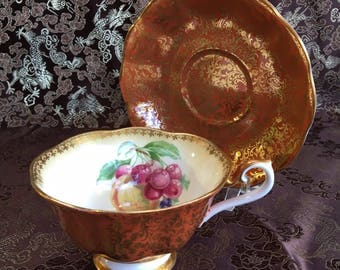 Royal Albert Chatsworth Orange and Gold Bone China Tea Cup and Saucer England