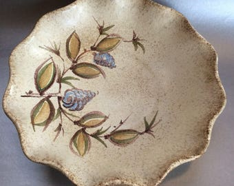 Gritty Vintage West German Pottery Wall Plate Shallow Bowl