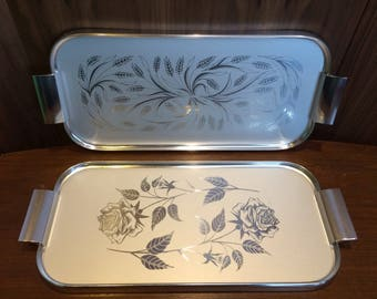 1 of 2 Vintage Aluminum Serving Trays with Wheat and Roses
