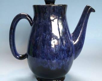 Evangeline Pottery Coffee Pot Cobalt Blue Lava Glaze Canada