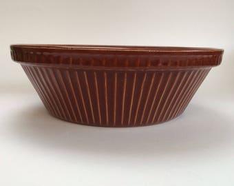 "Pyrita Ware Pottery Antique Serving Bowl Casserole Rich Brown Historic Pieces 8"""