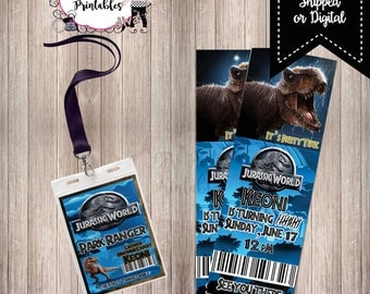 Jurassic Birthday VIP Pass and Ticket Invite/Printable/Invitation/DIY/Jurassic World/Dinosaurs/Party Supplies/PDF/Digital