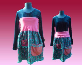 Pink and blue style 2 in 1, floral, Velvet skirt or strapless dress Bohemian
