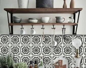 SALE!! Tile Decals - Tiles for Kitchen/Bathroom Back splash - Floor decals - Testino Vinyl Tile Sticker 26 pcs Pack color Black