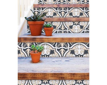 "Stair Riser Stickers - Removable Stair Riser Vinyl Decals - Firenze Pack of 6 - Peel & Stick Stair Riser Deco Strips - 48"" long"