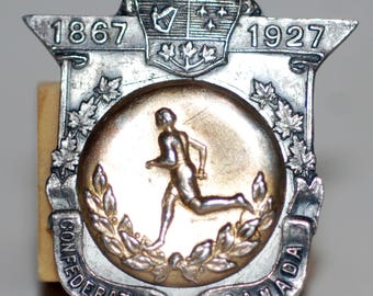 1927 era Sterling Silver 60th Anniversary Confederation Sports Medal - Free Shipping!