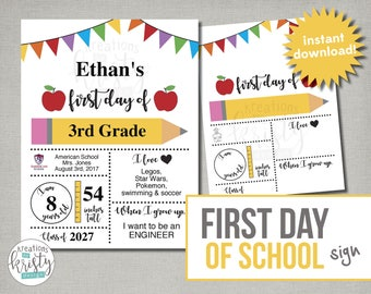 Printable First Day of School Sign with Child Details, Instant Download, Digital File