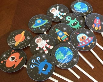 Outer Space Cup Cake Toppers