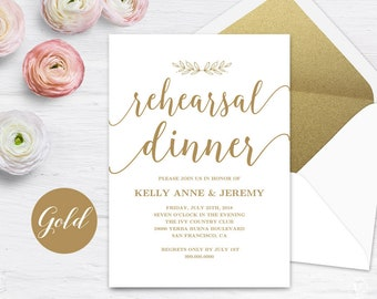 Gold Rehearsal Dinner Invitation, Rehearsal Dinner Card Template, INSTANT DOWNLOAD, Editable Text, 5x7, Modern Calligraphy, VW10GOLD