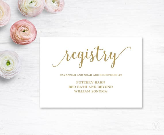 Wedding Gift Card Text : Gold Gift Registery Card Template, Printable Wedding Registry Card ...