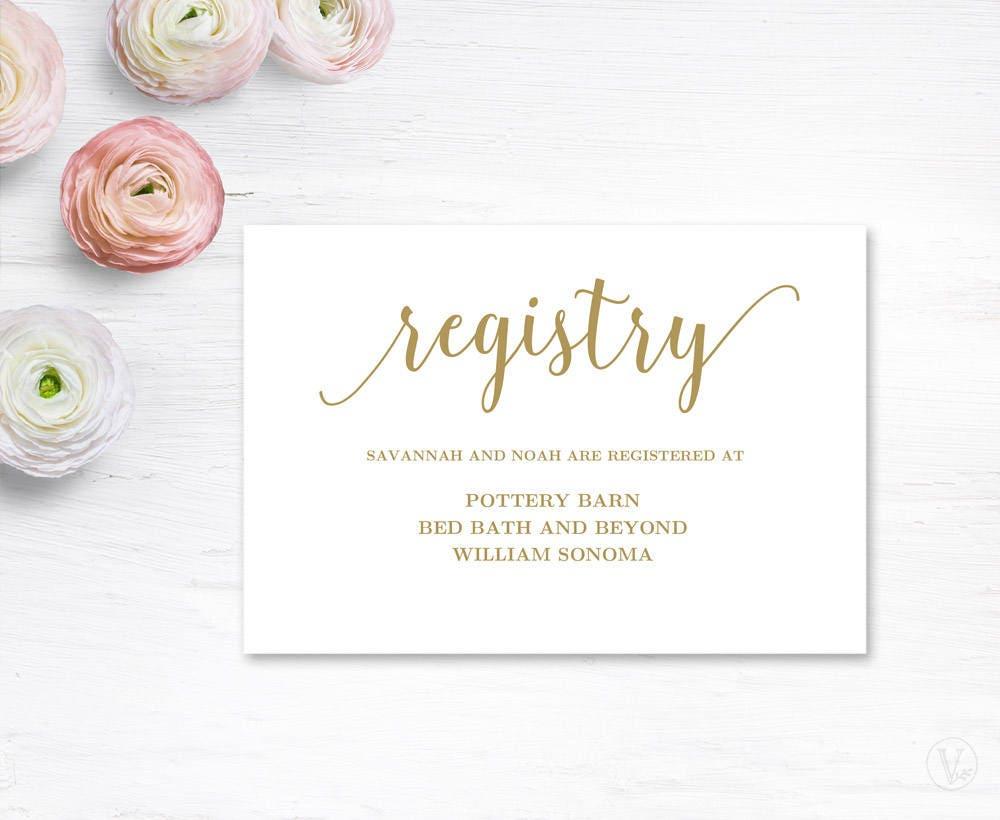 Wedding Gift Card Registry: Gold Gift Registery Card Template Printable Wedding Registry