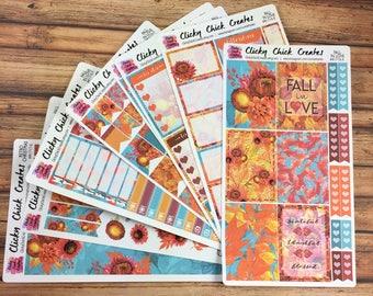 FALL in LOVE KIT! Planner stickers, fall, leaves, jewel tones, watercolor, coffee, flowers, Inkwell, eclp, Happy Planner {#K1718}