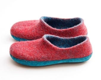 Boiled wool slipper- felted slippers-woman slippers- felted wool slippers- wool clogs- house shoes