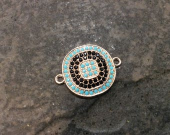 Rose Gold Circle Connector with black and turquoise pave bead detail Jewelry Connector