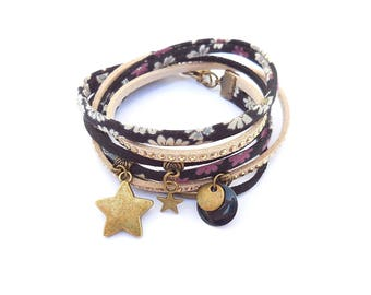 Black multi links liberty and suede bracelet