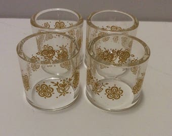 Vintage Pyrex Compatibles Glass Napkin Rings Butterfly Gold Set of 4