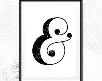 Ampersand print, Typography print, Ampersand art, Minimal print, Instant download art, Black and white, Wall art download, Monogram