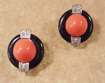 KJL Kenneth J Lane Orange Round Faux Coral And Black Art Deco Style Rhinestone Clip On Earrings