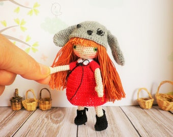 Crochet doll very very fine, 12 cm, my creation, a girl dog and art collection, decoration, unique, miniature toy